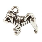 Small Standing Sharpei Dog 3D Sterling Silver Charms